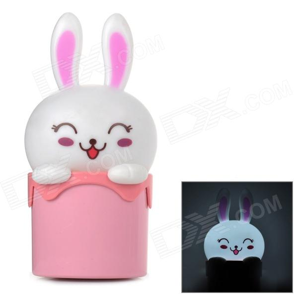 Yajianuo YJN-305B Rabbit Head Shaped 1W 90lm 5000K 1-LED White Night Lamp - White + Pink (AC 220V)