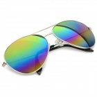 Oulaiou 3027 Reflective UV400 Protection Aluminum Alloy Frame Blue REVO Lens Sunglasses - Silver