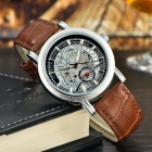 MCE 01-0060218 PU Band Self-Winding Mechanical Wristwatch w/ Calendar + Subdial - Brown + Silver
