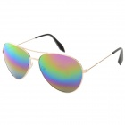Oulaiou 3027 Reflective UV400 Protection Aluminum Alloy Frame Blue REVO Lens Sunglasses - Golden