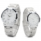 NARY 6005 Stainless Steel Band Quartz Wristwatch for Lovers & Couples -White (Pair / 1 x SR626)