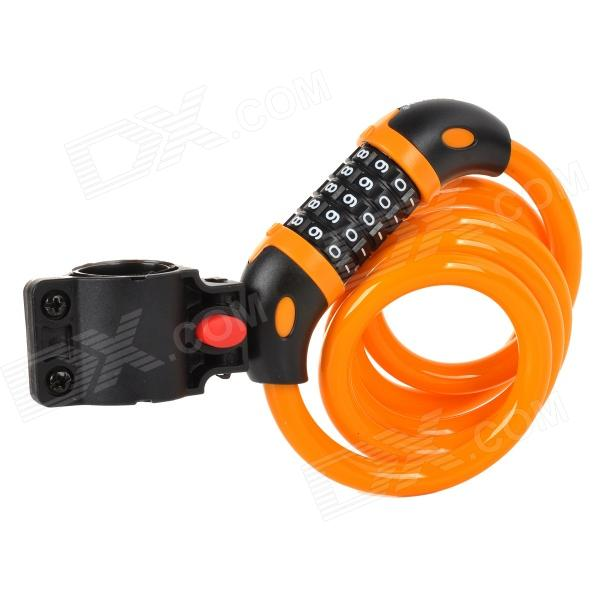 TONYON TY566 Universal 5-Digit Password Security Anti-Theft Bicycle Bike Lock - Orange + Black trelock bicycle cable lock bike steel locks biking bicycle lock anti theft security level 3 cycling locks bicycle accessories