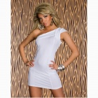 Candy Sexy Inclined Shoulder Bodycon Nylon Mini Dress - White
