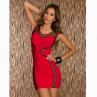 Fashion Lady Package-hip Dress - Red + Black (Free size)