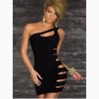 Single Shoulder Package-hip Dress - Black (Free size)
