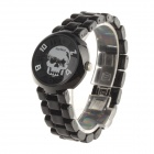 Daybird 3870 Cool Skull Design Women's Ceramics Band Quartz Wrist Watch - Black + Silver