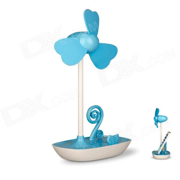 Haptime Flower Stylish USB Powered Fan w/ Cellphone Holder Stand - White + Blue
