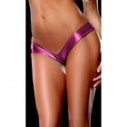 Womens Hot Sexy Metallic Spandex Panty Thong Lingerrie Underwear - Purplish Red