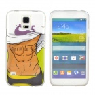 Hot Sexy Muscle Man Pattern Protective TPU Case for Samsung Galaxy S5 - White + Black