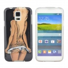 Hot Sexy Tattoo Girl Pattern Protective TPU Case for Samsung Galaxy S5 i9600 - Black + Beige