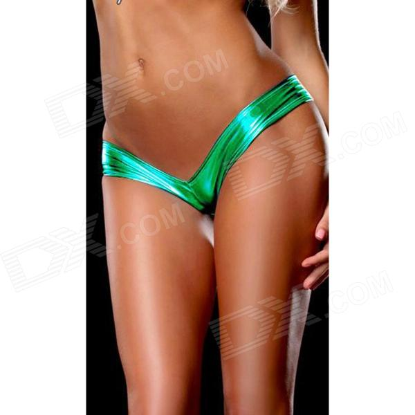 Womens Hot Sexy Metallic Spandex Panty Thong Lingerrie Underwear - Green