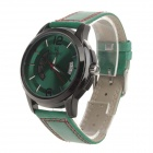 Daybird 3860 Men's Split Leather Band Mechanical Analog Wristwatch w/ Calendar - Green + Black