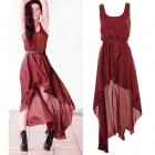 Women's Stylish Asymmetric Chiffon Sleeveless Dress - Red (L)