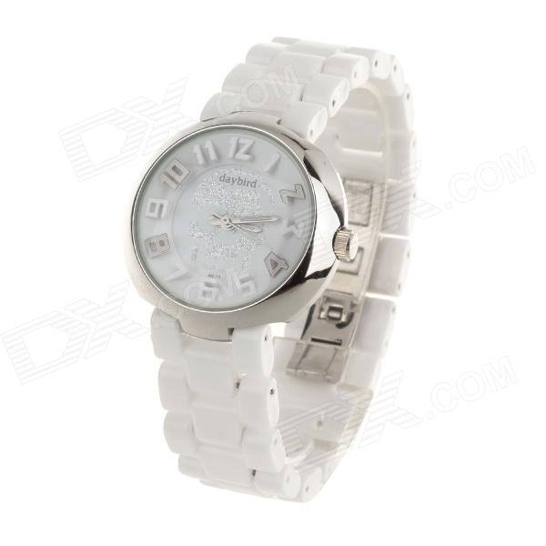 Daybird 3870 Cool Skull Design Women's Ceramics Band Quartz Wrist Watch - White + Silver