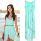 Women's Stylish Asymmetric Chiffon Sleeveless Dress - Light Blue (L)