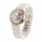 Daybird 3870 Cool Skull Design Women's Ceramics Band Quartz Wrist Watch - White + Rose Golden