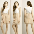 Women's Stylish Sweet Dacron Lace Sleeveless Dress w/ Belt String - White + Champagne (L)