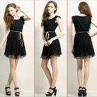 Women's Stylish Sweet Dacron Lace Sleeveless Dress w/ Belt String - Black (L)