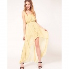 Women's Stylish Asymmetric Chiffon Sleeveless Dress - Champagne (L)