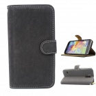 Stylish Soft Flip-open PU Case w/ Stand + Card Slot for Samsung Galaxy S5 - Dark Grey