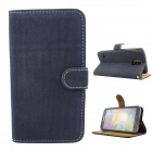 Stylish Soft Flip-open PU Case w/ Stand + Card Slot for Samsung Galaxy S5 - Deep Blue