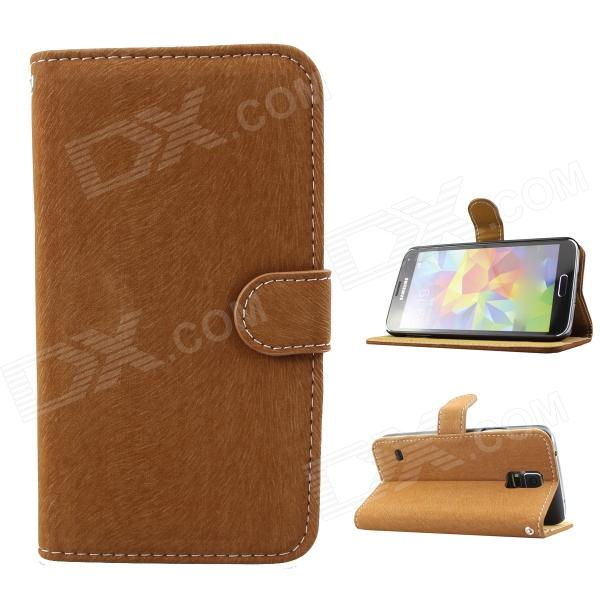 Stylish Flip-open PU Case w/ Stand + Card Slot for Samsung Galaxy S5 - Brown leopard print flip open pu leather case w stand for samsung galaxy s5 khaki brown multi color