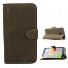 Flip-open PU Case w/ Stand + Card Slot for Samsung Galaxy S5 - Army Green