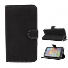Flip-open PU Case w/ Stand + Card Slot for Samsung Galaxy S5 - Black