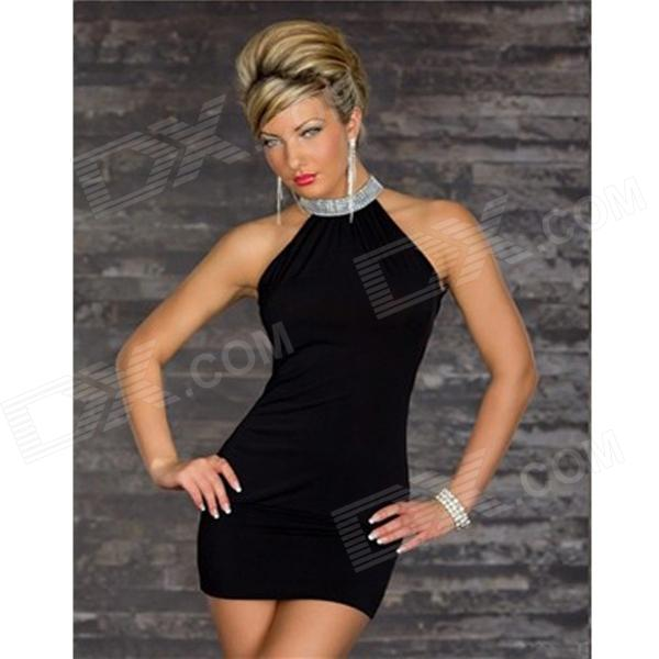 Fashionable Sleeveless Package Hip Polyester Dress - Black profi cook pc vk 1015 и pc vk 1080