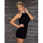 Fashionable Sleeveless Package Hip Polyester Dress - Black