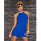 Fashionable Sleeveless Package Hip Polyester Dress - Sapphire Blue