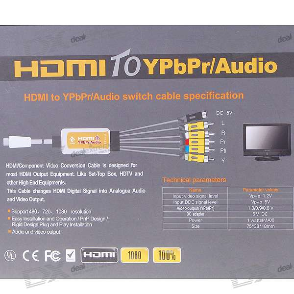 Gold Plated 1080p Hdmi To Ypbpr 5rca    Audio Adapter