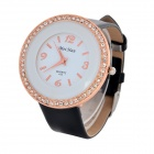 MeiHan A12 Women's Rhinestone Studded PU Band Analog Quartz Wristwatch - Rose Gold + Black (1 x 626)