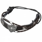 Fashionable Retro Rome Style Split Leather Bracelet - Coffee