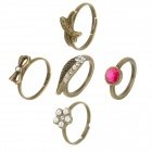 Women's Zinc Alloy Wing / Rhinestone / Bow / Swallow / Flower Style Ring Set (5 PCS)