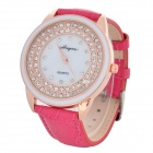 Haiyan 6374 Women's Rhinestone Studded PU Band Analog Quartz Wristwatch - Golden + Dark Pink (1x626)