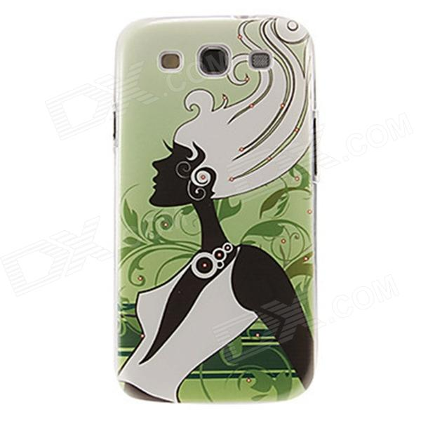Kinston Long Hair Lady Pattern Protective Plastic Case for Samsung Galaxy S3 i9300 - Green + Black стоимость