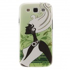 Kinston Long Hair Lady Pattern Protective Plastic Case for Samsung Galaxy S3 i9300 - Green + Black
