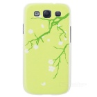 Kinston Peach Blossom Pattern Plastic Protective Case for Samsung Galaxy S3 i9300 - Green + White