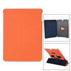 Protective Flip Open PU Leather + PC Case w/ Stand / Hand Strap for IPAD AIR - Black + Orange