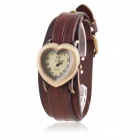 Women's Heart Shaped Zinc Alloy Casing PU Band Analog Quartz Watch - Brown (1 x SR626)