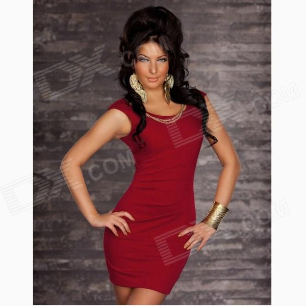 Fashionable Sexy Sleeveless Package Hip Slim Nylon Dress - Claret Red