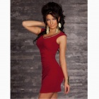 Fasjonable Sexy ermer Package Hip Slim Nylon Dress - Claret Rød
