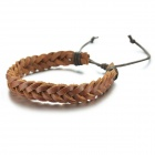 EQute BLEM1C9 Fashionable Braided Style Split Leather Bracelet -Coffee
