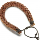 EQute Fashionable Braided Style Split Leather Bracelet - Coffee