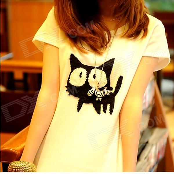 Women's Black Cats Printed Cotton T-shirt - Black + White