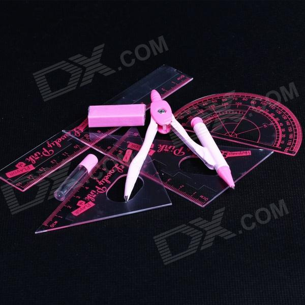 Accurate Anti-static Drawing Rulers + Compasses + Protractor Set - Pink + Red