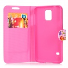 Protective PU Case w/ Stand / Card Slot / Protector / Stylus / Cable for Samsung Galaxy S5 - Pink