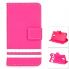 Protective PU Case w/ Stand + Card Slot + Protector + Stylus for Samsung Galaxy S5 - Dark Pink