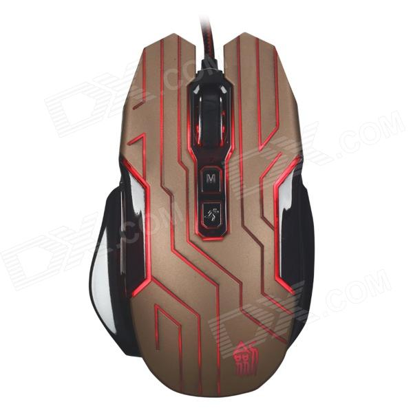 JS-X10-JINSE Classic 7-Key Wired Professional Game Mouse w/ Colorful LED Light - Black + Glod
